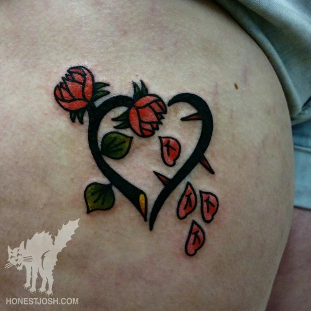 heart rose petal leg tattoo